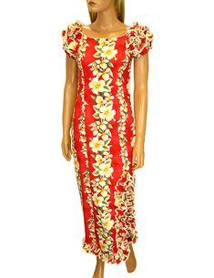 Check out the deal on Luana Long Muumuus Hawaiian Dress with Ruffle Hem and Slit…