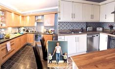 Katy Tate, wanted to freshen up her kitchen after buying the home in Durham in March. Cream Kitchen Cupboards, Cream Kitchen Tiles, Kitchen Backslash, Grey Kitchen Floor, Open Kitchen, Kitchen Flooring, Bohemian Kitchen, Bohemian Room