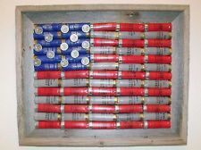 For Justus?? SHOTGUN SHELL AMERICAN FLAG - WEATHERED BARN WOOD FRAME - CABIN/LODGE DECOR