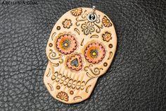 Leder Sugar Skull Schlüsselanhänger handgemacht von ARCHERIA