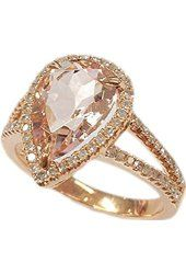 Pear Morganite Engagement Ring Pave Diamond Wedding 14K Rose Gold 8x12mm,Claw Prongs