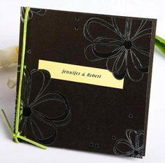 brown and green ribbon folded daisy rustic wedding invitations EWRI020  