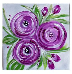 Julie Ryder: Flowers and swirls. Easy Canvas Painting, Easy Paintings, Fabric Painting, Painting & Drawing, Watercolor Paintings, Canvas Art, Purple Painting, Painted Canvas, Canvas Paintings
