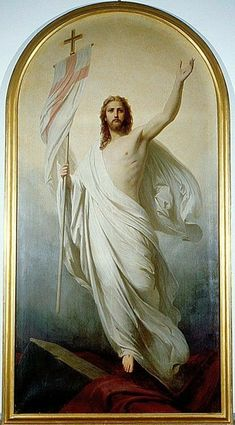The triumphant Jesus Christ, shown in this painting in glorified form after resurrection, the living God. Jesus Artwork, Jesus Christ Painting, Paintings Of Christ, Pictures Of Jesus Christ, Religious Pictures, Jesus Is Risen, Jesus Son Of God, Risen Christ, Catholic Art
