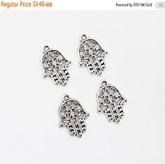 ON SALE Silver Hamsa Hand Charms Set of 4 Jewelry by TheBlueBeadle