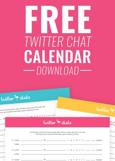 Download your free twitter chat calendar to track your favorite chats easily. Comes in 6 different colors! By Laura James Studio