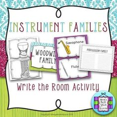 A Write the Room activity for teaching the Musical Instrument Families.  Students will LOVE being able to walk around the room!