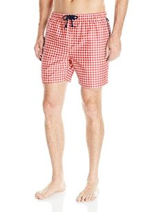 Original Penguin Men's Elastic Waist Gingham Trunk, Rococo Red, Medium * Details on product can be viewed by clicking the VISIT button