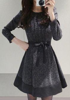 Dark Grey Patchwork Pleated Belt Puff Sleeve Dress - Midi Dresses - Dresses