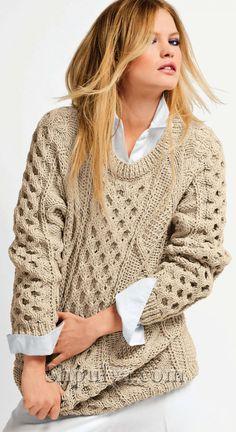 Размеры свитера: S/M/L/XL/XXL. Вам потребуется: 750/850/900/1000/1100 г бежевой пряжи (291.151) Pur Merinos Francais (100% мериносовой шерсти, 105 м/50 г), спицы № 6 и № 7