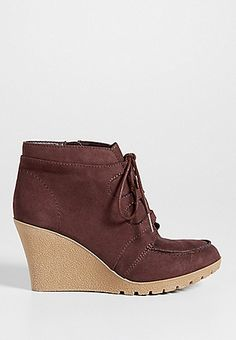 Jamie faux suede lace up wedge in mauve | Maurices  http://www.maurices.com/maurices/product/Jamie%20faux%20suede%20lace%20up%20wedge%20in%20mauve/99014C3?camp=cme_tgOrderConfirmation&rmid=OrderConfirmation&rrid=1336223585