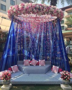 Let's jump to the list of off-beat Mehndi ceremony decoration ideas, that will lit up your decor in the best way, unique mehndi decor ideas Desi Wedding Decor, Wedding Stage Decorations, Wedding Mandap, Party Decoration, Wedding Receptions, Wedding Parties, Wedding Ceremonies, Blue Wedding, Trendy Wedding