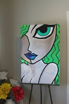 nude girl abstract pop art bright lime by NicoleMetzgerPaints, $259.00