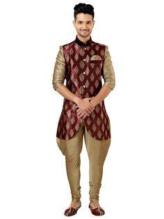 Fantastic golden beige, maroon color kurta is fabricated on art silk, brocade. Item code: SKEW533  http://www.bharatplaza.com/new-arrivals/kurta-pyjamas.html