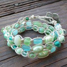 Sea Green Bracelet - Hemp Wrap Bracelet, Sea Green Glass, Macrame Bracelet, Beach Theme by melissagarsia Hemp Jewelry, Beach Jewelry, Sea Glass Jewelry, Jewelry Crafts, Handmade Jewelry, Macrame Bracelets, Jewelry Organization, Making Ideas, Jewelery