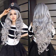 Nouvelle Arrivée Résistant À La Chaleur Synthétique Anime Cosplay Harajuku Lolita Ondulés Long Argent Perruque Pour Halloween