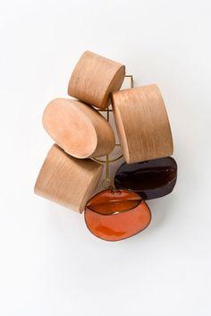 Iris Eichenberg, Brooch, 2008    Brooch: Untitled 2008  Wood, leather, copper enamel, brass  19.5 x 16.5 x 6 cm