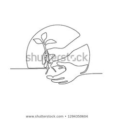 Continuous line illustration of a hand planting a tree seedling set inside circle shape done in monoline style in black and white. Tree Seedlings, Continuous Line, Line Illustration, Circle Shape, Trees To Plant, Planting, Royalty Free Stock Photos, Black And White, Image