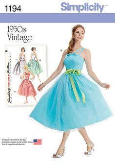 Simplicity New Look sewing pattern 1194 - Misses' and Miss Petite 1950's Vintage Dress.