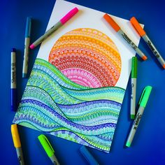 Sun water colours i draw in 2019 doodle art, art drawings, d Doodle Art Drawing, Zentangle Drawings, Mandala Drawing, Art Drawings Sketches, Cute Drawings, Zentangles, Flower Drawings, Watercolor Mandala, Sharpie Drawings