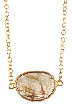 Candela Bezel Set Faceted Labradorite Necklace