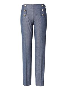 Banana Republic Womens Sloan-Fit Sailor Pant Blue Texture