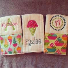 Personalized baby girl burp cloths - ice cream