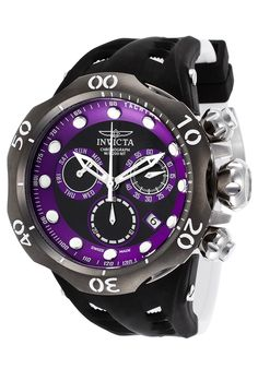 Invicta 16995 Watches,Men's Venom Chrono Black & White Silicone Black & Purple Dial, Luxury Invicta Quartz Watches