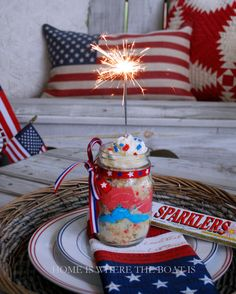 Can you believe July is next week? If you're craving some red, white, and blue food fun for your Independence Day celebration, I have a round-up of patriotic and party treats for your Sta… Cake In A Jar, Dessert In A Jar, Berry Trifle, Independance Day, Happy Birthday America, 4th Of July Celebration, Star Spangled, Happy Independence Day, Happy 4 Of July