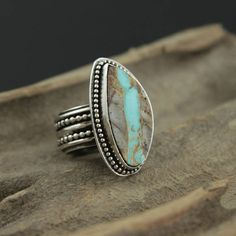 Royston Ribbon Turquoise Silver Super Ring