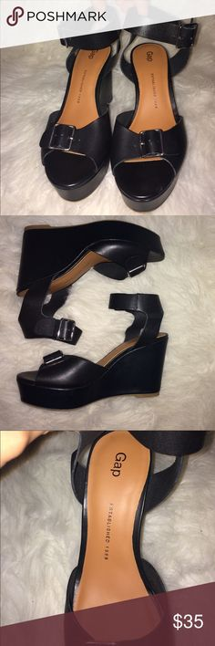 GAP chunky black wedges Chunky black leather wedges! They have two adjustable straps. Never been worn outside. Great condition! GAP Shoes Wedges
