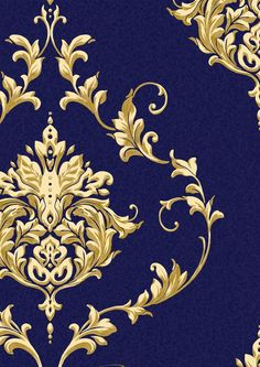 Sandringham Blue Luxury Damask Blown Textured Vinyl Wallpaper Blue Gold Desgn