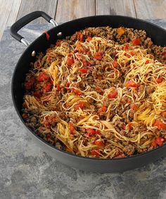 One Skillet Spaghetti  http://frugalanticsrecipes.com  #pasta #Italian #dinner