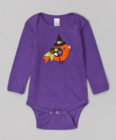 Holiday by Petunia Petals Purple Halloween Bird Bodysuit - Infant | zulily