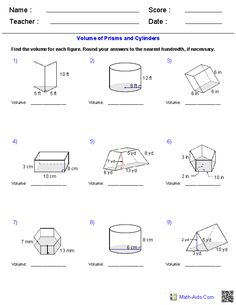 Prisms, Pyramids, Cylinders & Cones Surface Area Worksheets   Math ...