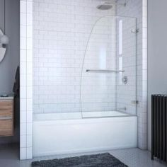 Delta Classic 400 Curve 60 in. x 62 in. Frameless Sliding Tub Door in Stainless-B55910-6030-SS - The Home Depot Tub Shower Doors, Bathtub Doors, Frameless Shower Doors, Shower Bathroom, Shower Enclosure, Bathroom Fixtures, Pivot Doors, Sliding Doors, Tub Surround