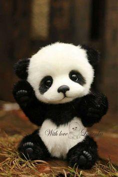 Panda bear Hugo handmade plush collectible artist stuffed teddy bear OOAK toy cute panda cub realistic teddy bear beas gift (made to order) Cute Panda Baby, Baby Animals Super Cute, Baby Panda Bears, Cute Little Animals, Cute Funny Animals, Cute Cats, Baby Pandas, Big Cats, Baby Animals Pictures