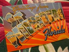 Vintage St. Petersburg Florida  linen postcard - Greetings from St. Petersburg St. Pete  - 1940s large letter