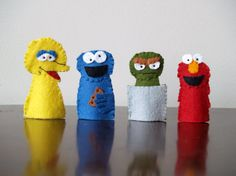 Sesame Street Finger Puppet Set by raindropstops on Etsy, $28.00