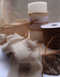 burlap, linen and lace ribbon and jute cording.