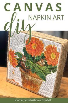 Decoupage On Canvas, Napkin Decoupage, Decoupage Tutorial, Diy Canvas Art, Diy Decoupage Paper, Homemade Canvas Art, Canvas Paper, Diy Crafts For Kids, Fall Crafts