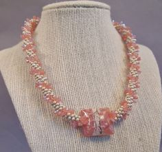 Pink Lampwork Kumihimo Necklace, Czech Glass Kumihimo Necklace, Japanese Seed Bead Necklace, Pink Desert Sand Necklace