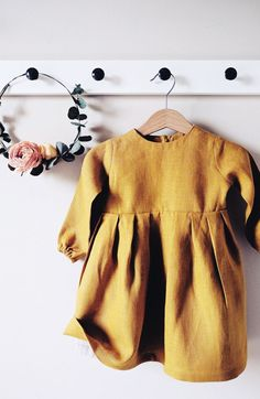 Beautiful little girls handmade mustard linen baby toddler dress Fashion Kids, Baby Girl Fashion, Toddler Fashion, Cheap Fashion, Fashion Wear, Fashion Clothes, Fashion Dolls, Fashion Women, Baby Outfits
