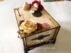 Beautiful Altered Box and Mini Tag Album--side view