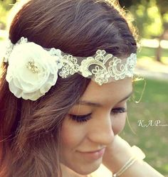 Floral Bridal Headpiece Lace Halo 1920's Flapper head piece circlet halo bohemian bride with beaded organza flower wedding hair accessory by GracefullyGirly, $88.00