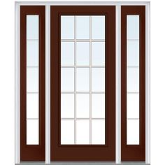 Milliken Millwork 68.5 in. x 81.75 in. Classic Clear Glass GBG Full Lite Painted Majestic Steel Exterior Door with Sidelites, Redwood