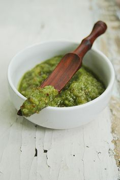 Garlic scape pesto - garlic scapes, almonds, olive oil, parmesan cheese, salt, pepper