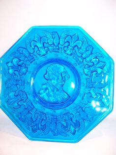 Glass Dishes Blue George Washington Fleur Plate