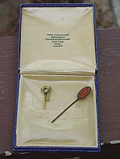 Pair of Antique Victorian Stick Hat Pins w Old Box