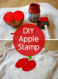 Use an apple as a stamp to decorate and customize plain T-shirts and onesies!
